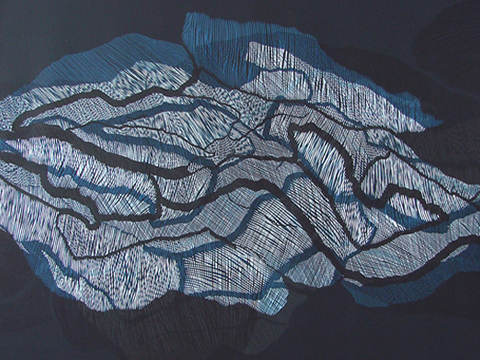 Ernesto Alva, Obra, Devorando, espacio interior, Azul I, Arte Hoy, Galería
