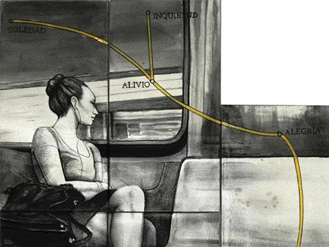 Diana Salazar, Trayecto con línea amarilla, Arte Hoy, Galería